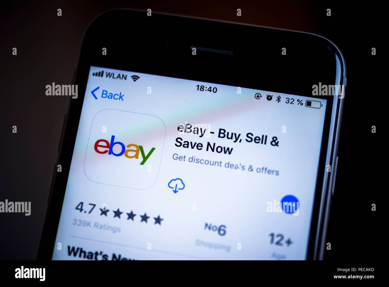 Ebay App In The Apple App Store App Icon Display Iphone Ios Smartphone Display Screenshot Close Up Detail Full Size Stock Photo Alamy