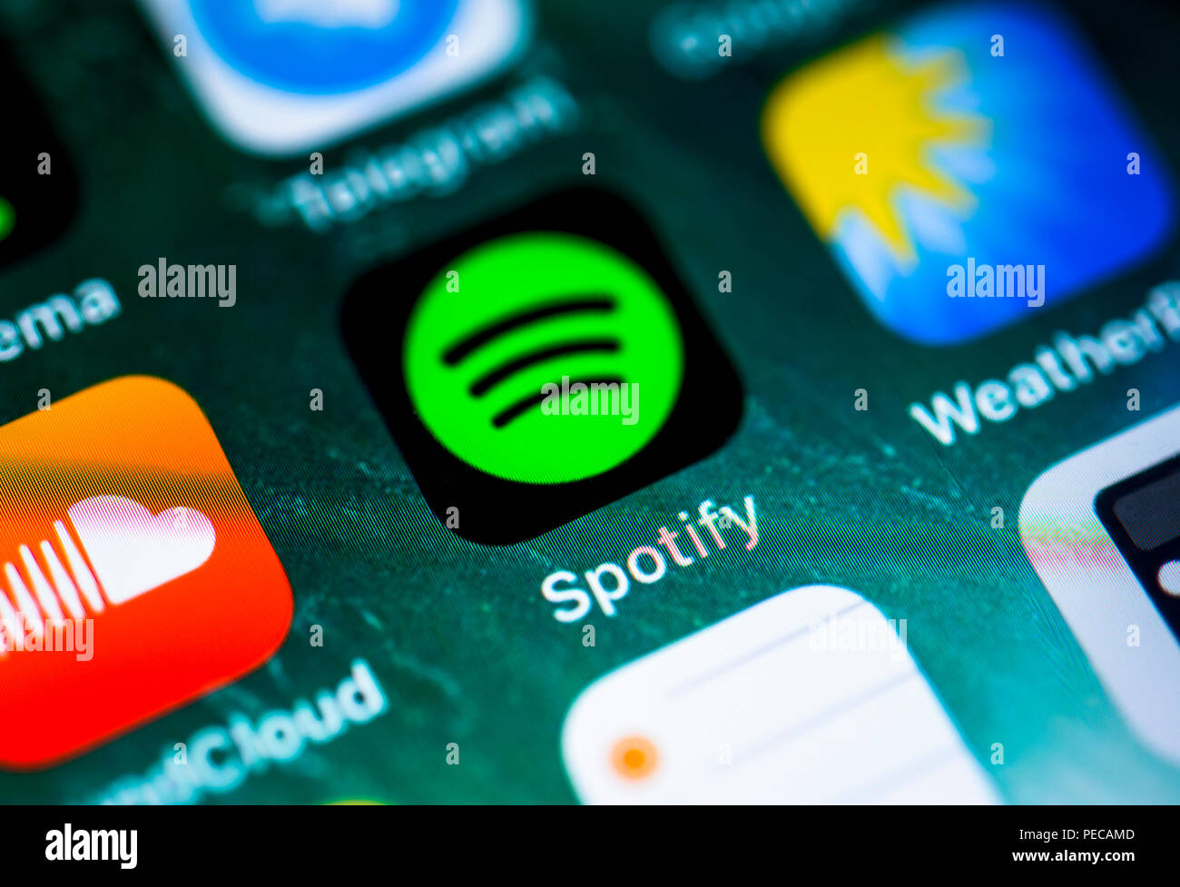 Spotify, music streaming, app icon on iPhone, iOS, smartphone screen, display, close-up, detail, Germany - Stock Image