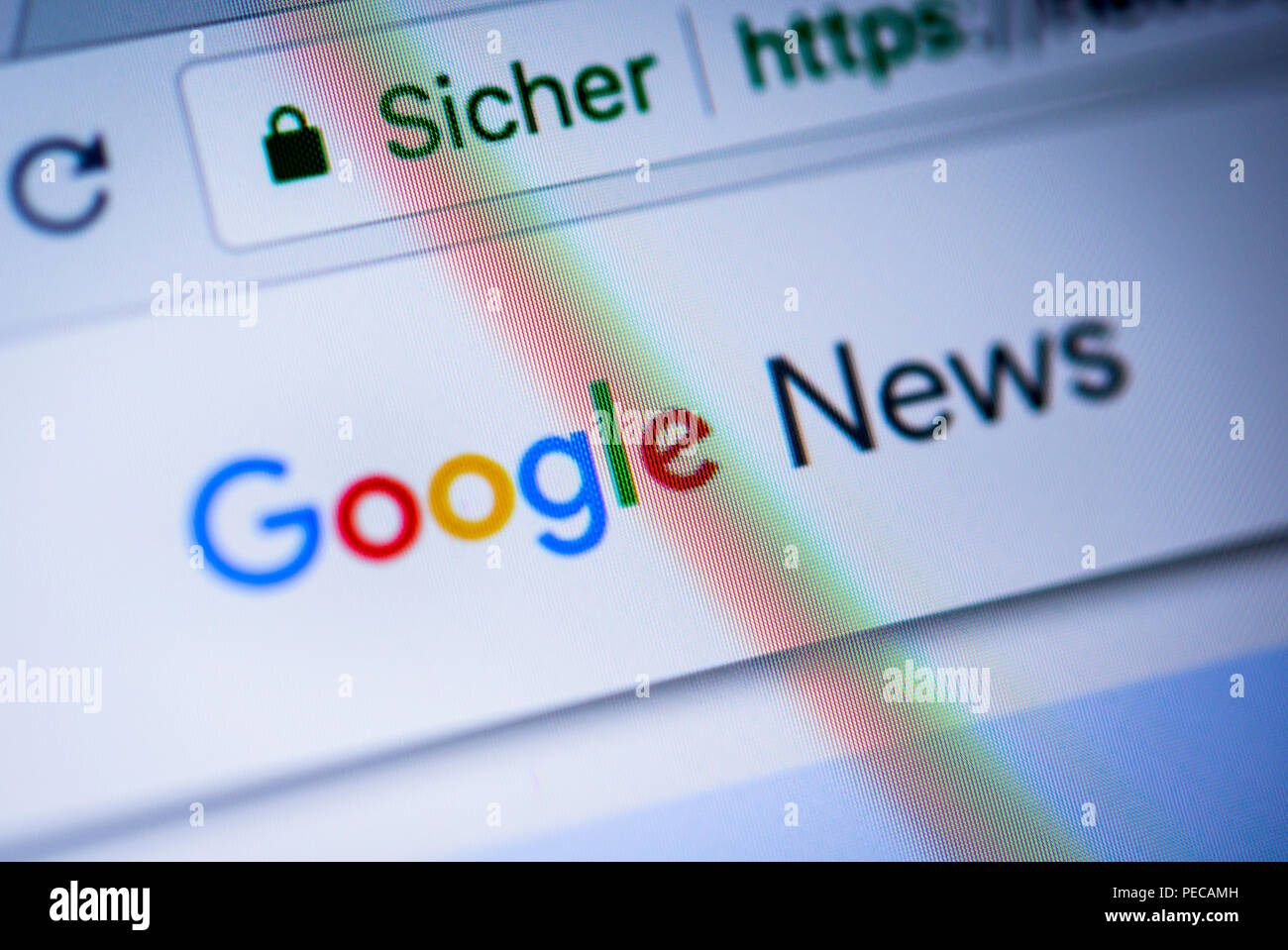 Google News logo displayed in a Browser, close-up, detail, Germany - Stock Image