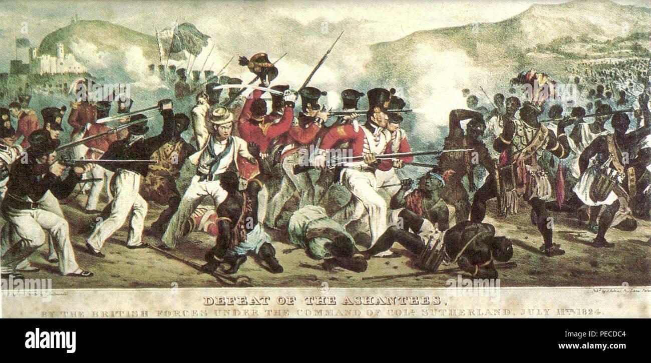Aschanti Gefecht 11 july 1824 300dpi. - Stock Image