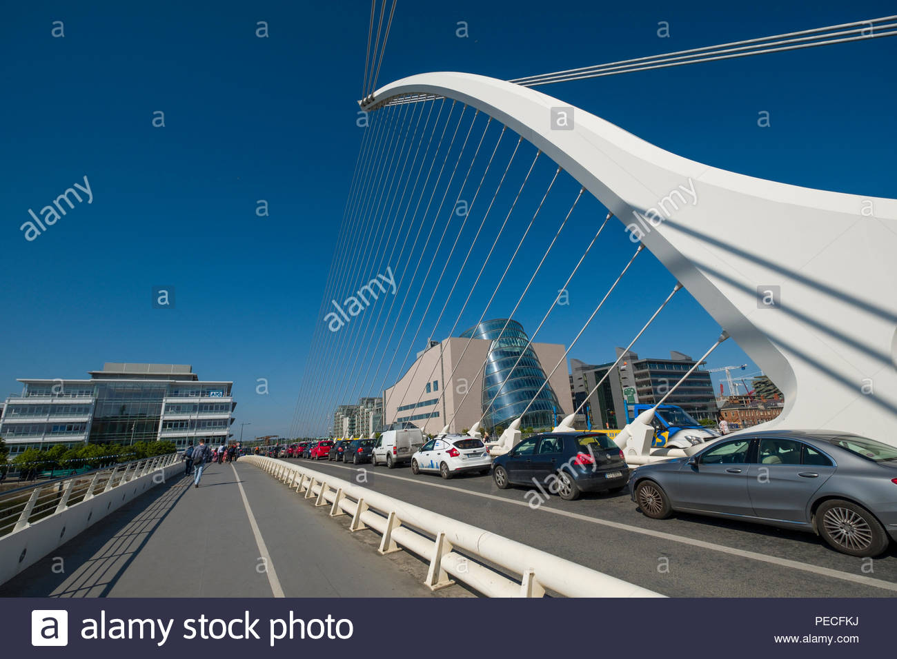 Automobile traffic on the Samuel Beckett Bridge, Dublin, Leinster, Ireland - Stock Image