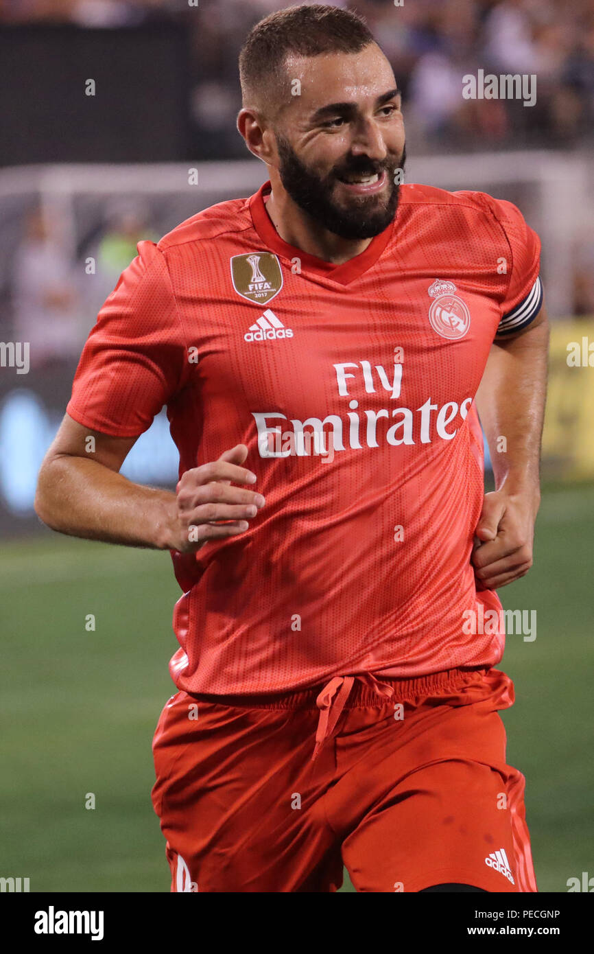 Striker Karim Benzema of Real Madrid #9 in action against Roma in the 2018 International Champions Cup match at MetLife stadium - Stock Image