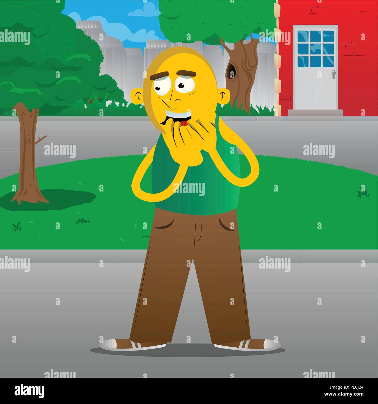 Yellow man with hands over mouth. Vector cartoon illustration. Stock Vector