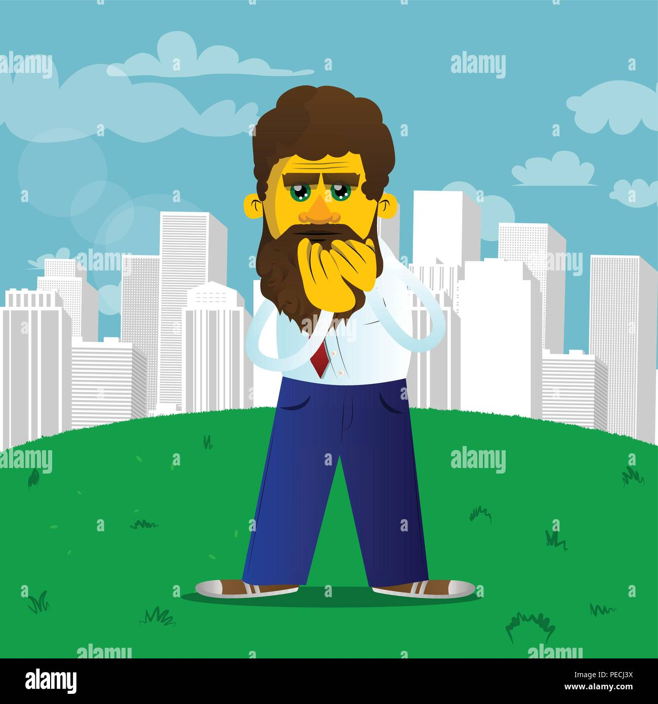 Yellow man with hands over mouth. Vector cartoon illustration. - Stock Image