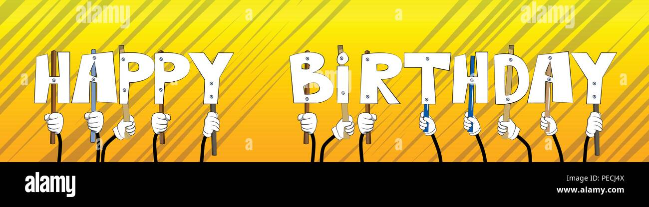 Diverse hands holding letters of the alphabet created the word Happy Birthday. Vector illustration. - Stock Image
