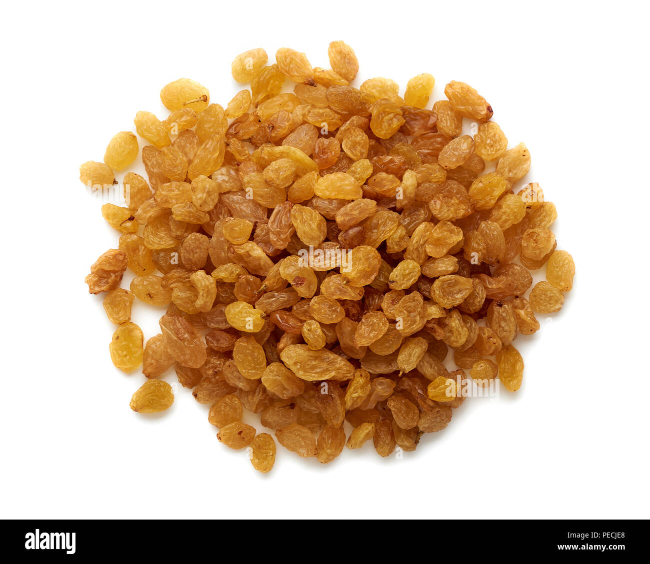 Heap of yellow raisins isolated on white background. Top view. - Stock Image