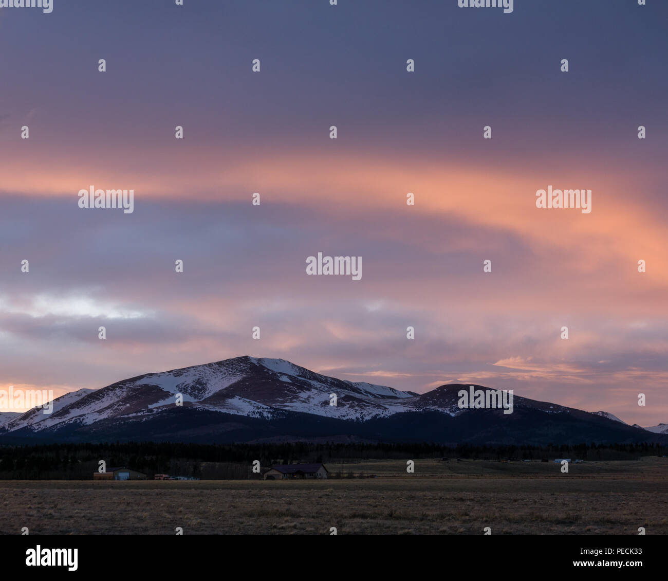 Sunset from South Park, outside of Fairplay, Colorado. - Stock Image