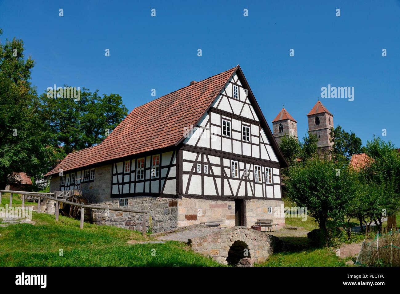 Wassermuehle, Freilichtmuseum, Vessra, Thueringen, Deutschland - Stock Image