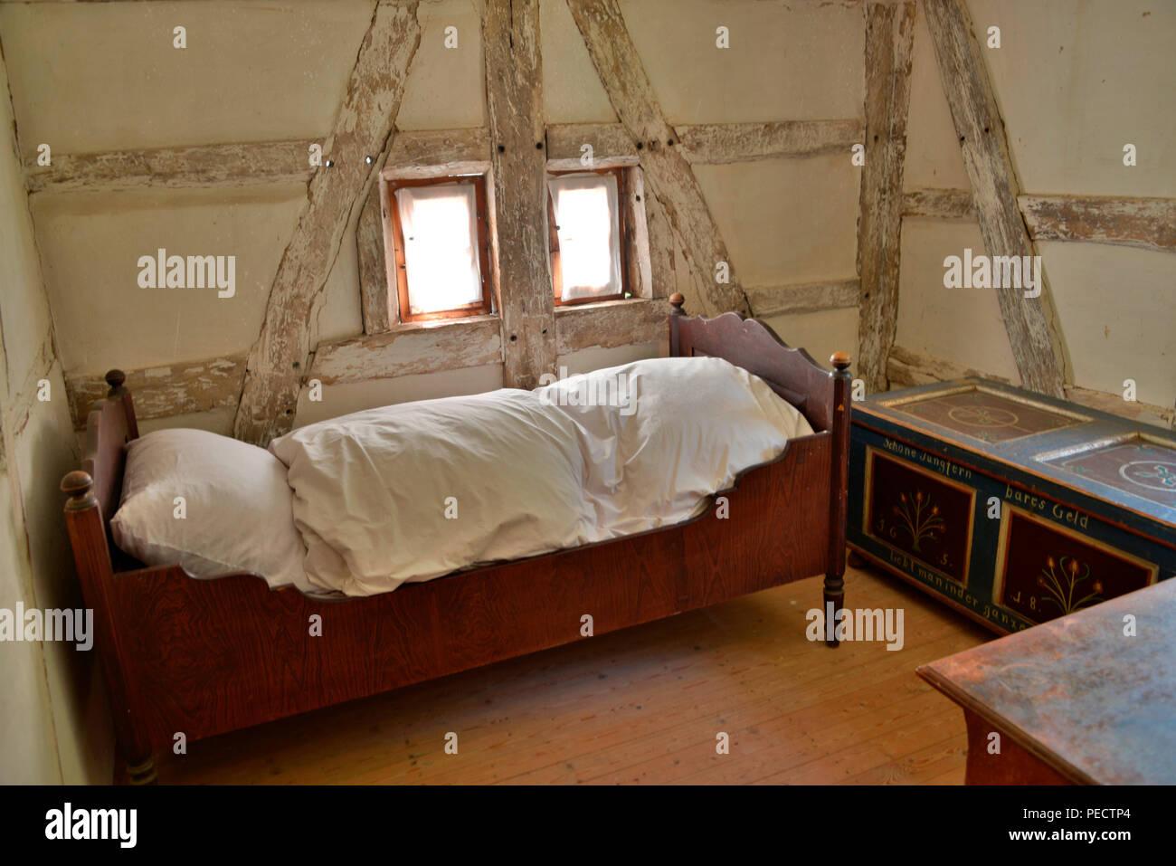 Schlafzimmer, Wassermuehle, Freilichtmuseum, Vessra, Thueringen, Deutschland - Stock Image