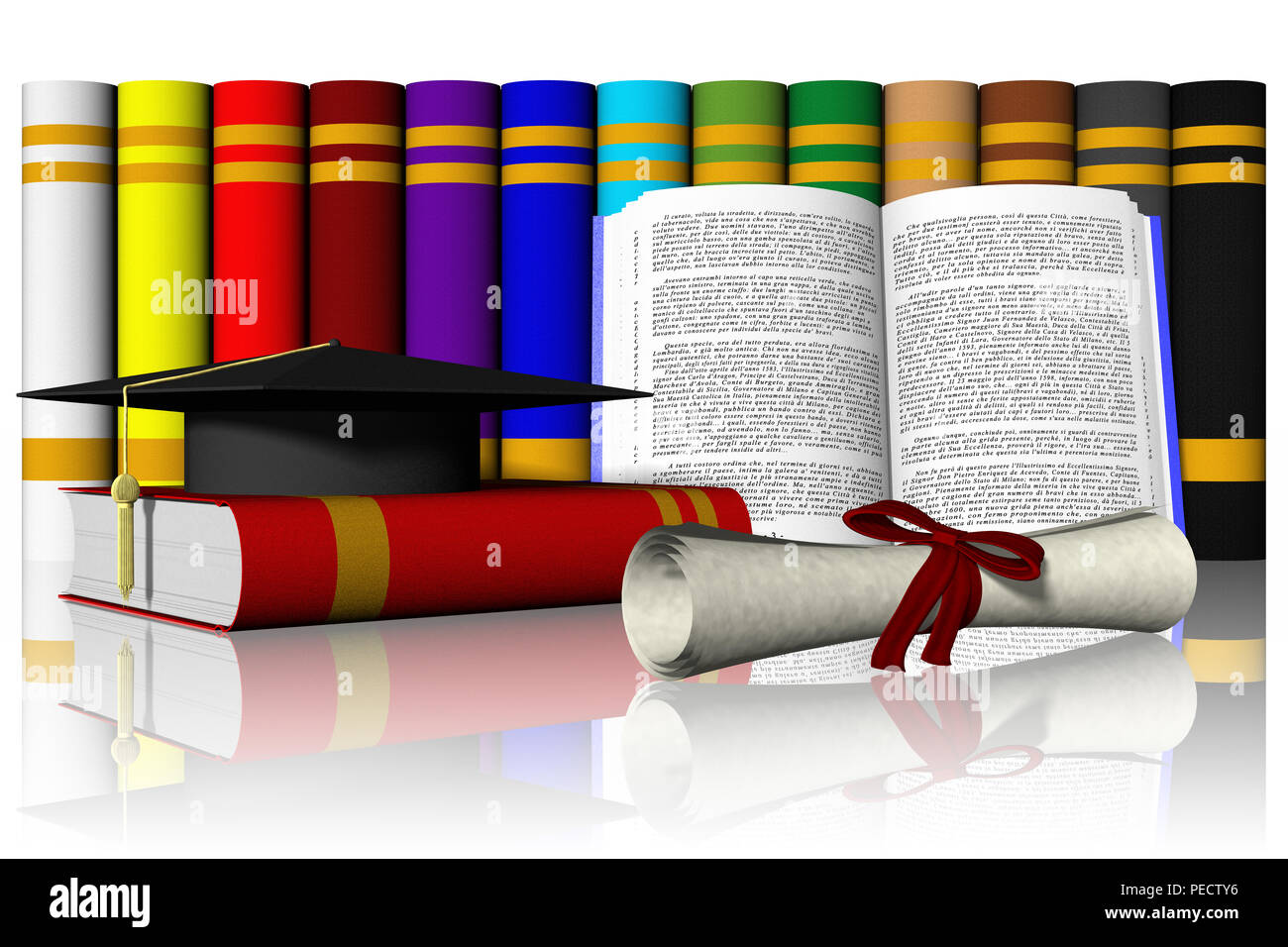3D Illustration. Hat And Diploma With Books And Thesis In The Background  Stock Photo - Alamy