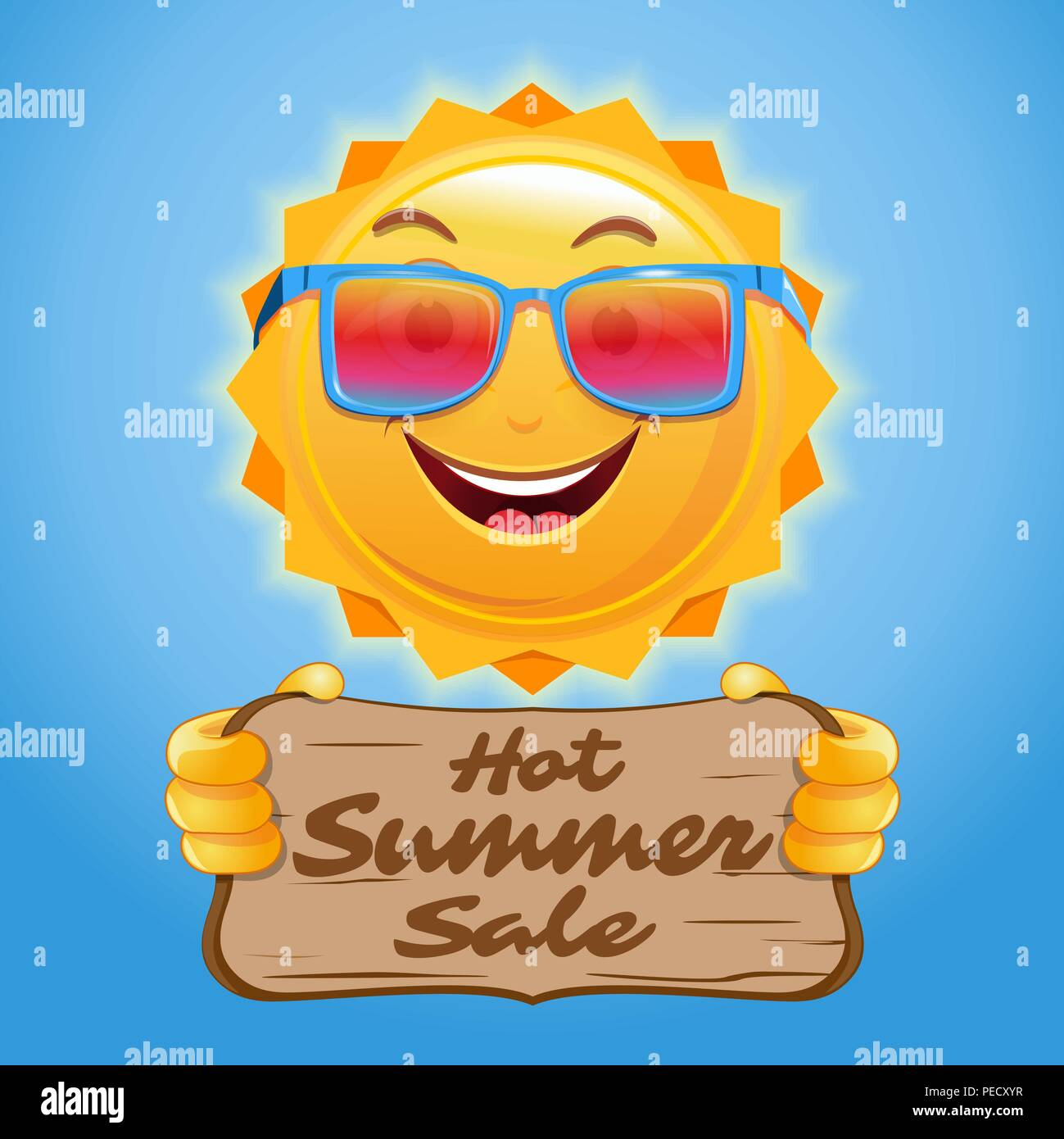 Hot summer sale. Advertising poster design for the summer sale. Happy anthropomorphic sun holds a wooden sign with an inscription. Vector illustration - Stock Vector