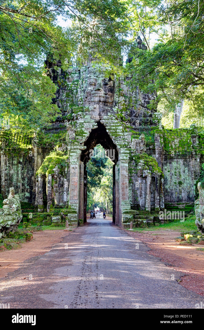 North Gate, Angkor Thom, Siem Reap, Cambodia - Stock Image