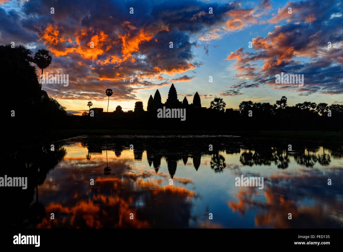 Amazing Sunrise over Angkor Wat Temple, Siem Reap, Cambodia - Stock Image