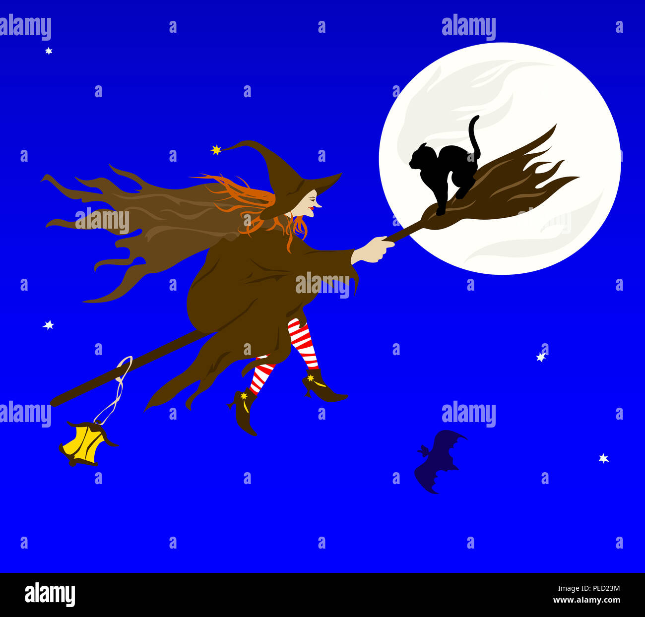 illustration on a theme halloween the witch flying on sabbath stock