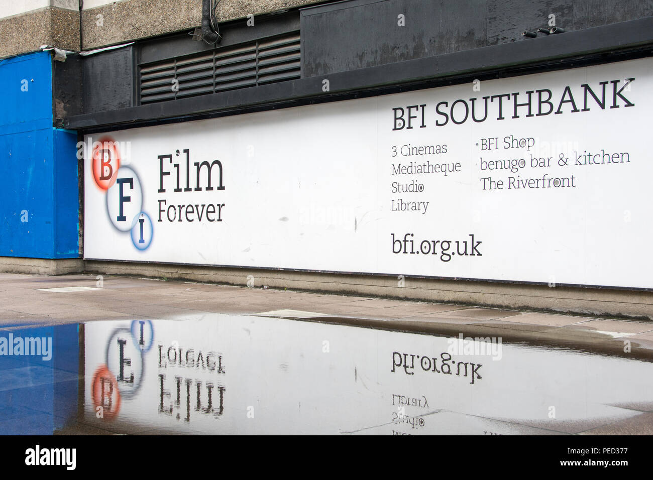 BFI advertisement on London's Southbank, UK - Stock Image