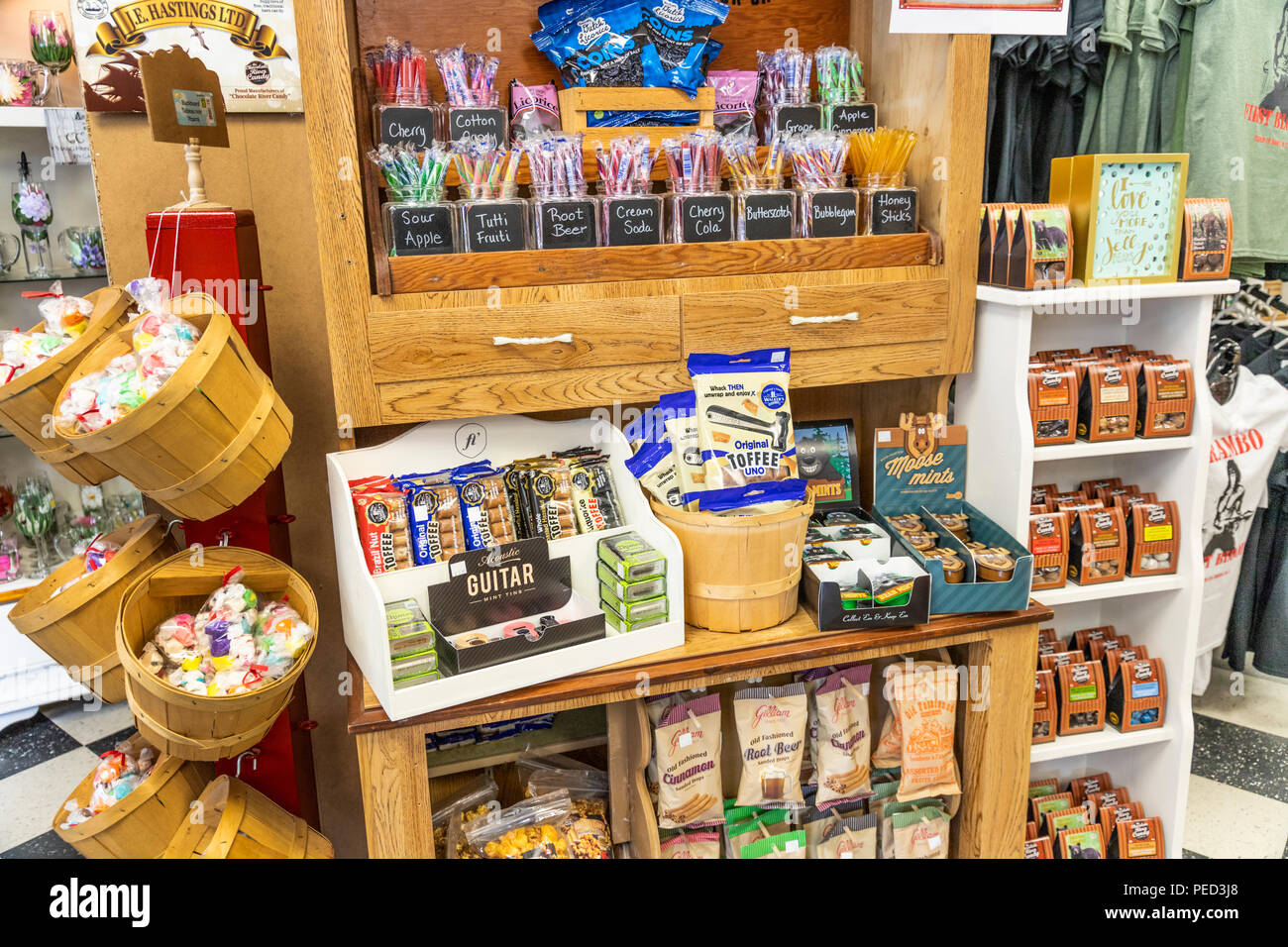 Display of candy sweets in the Artisans Attic and Fudgery Gift Shoppe in the town of Hope, British Columbia, Canada - Stock Image