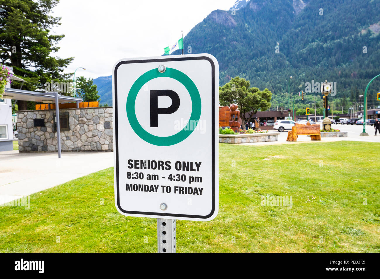 'Seniors Only' parking sign in a car park in the town of Hope, British Columbia, Canada - Stock Image