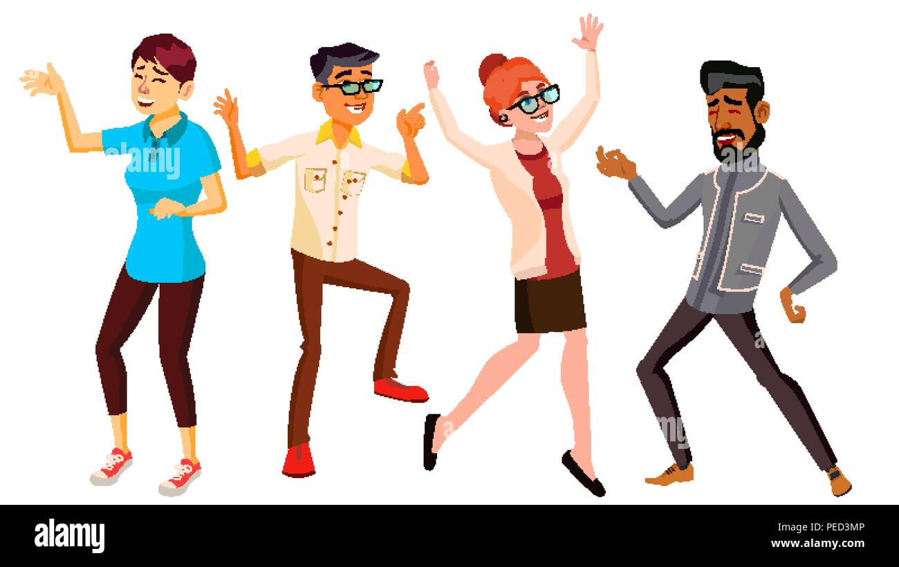 Dancing People Set Vector. Holiday Vacation Party. People Listening To Music. Isolated Flat Cartoon Illustration - Stock Vector