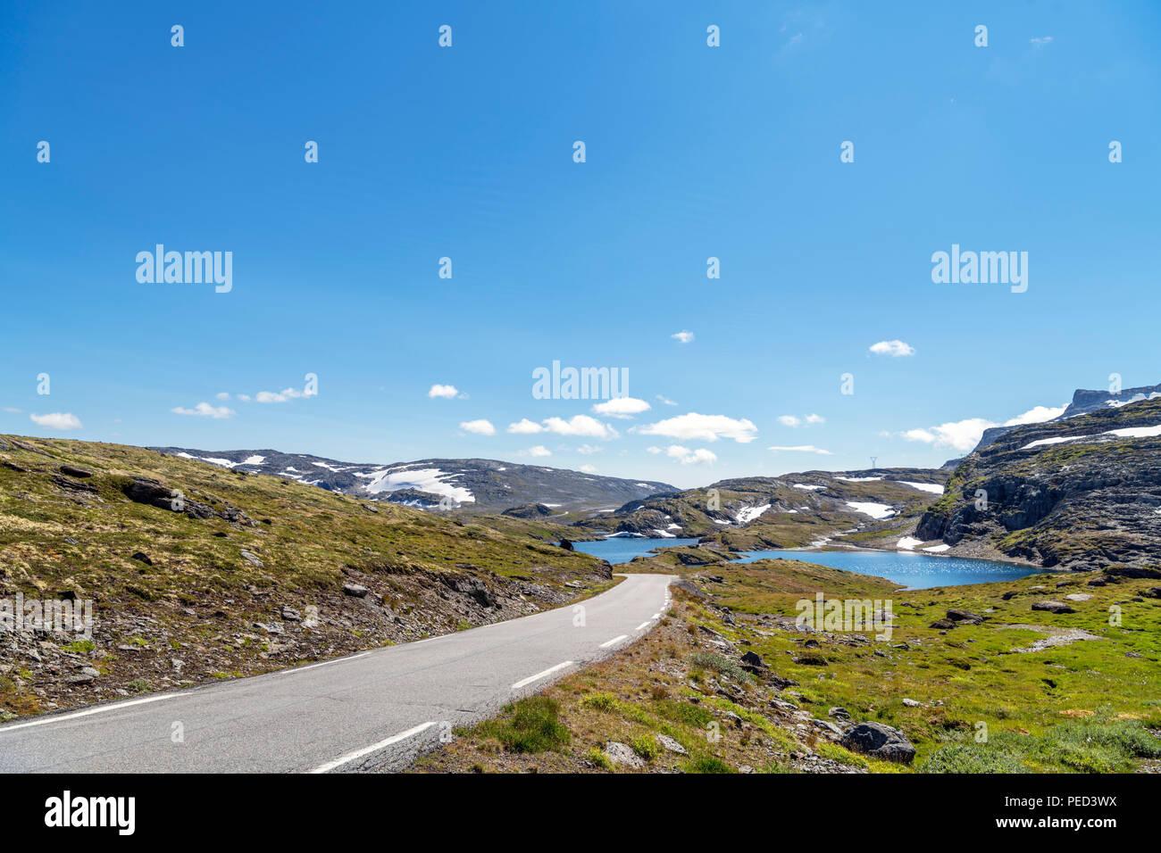 The high altitude Aurlandsfjellet road (Fylkesvei 243) between Aurland and Lærdalsøyri, Sogn og Fjordane, Norway - Stock Image