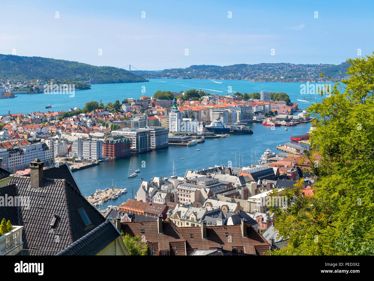 Bergen, Norway. View over the city from the slopes of Mount Fløyen, Bergen, Hordaland, Norway - Stock Image