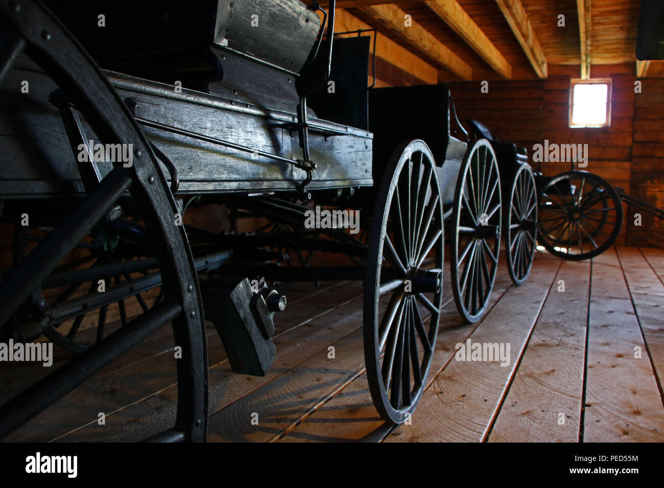 Old Carriages & wagons. Bar-U-Ranch, Alberta, Canada - Stock Image