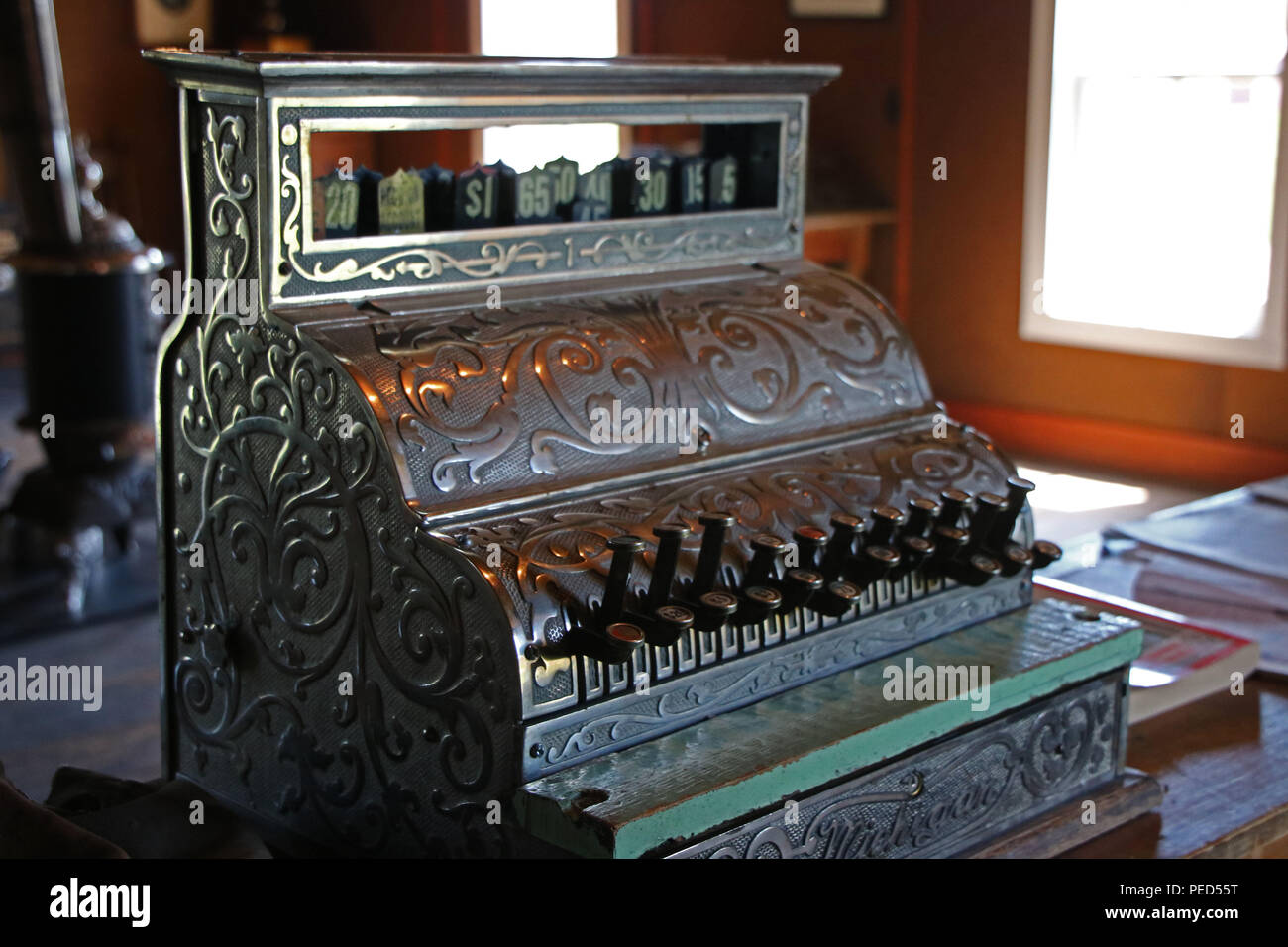 Antique Cash Register. Alberta, Canada - Stock Image