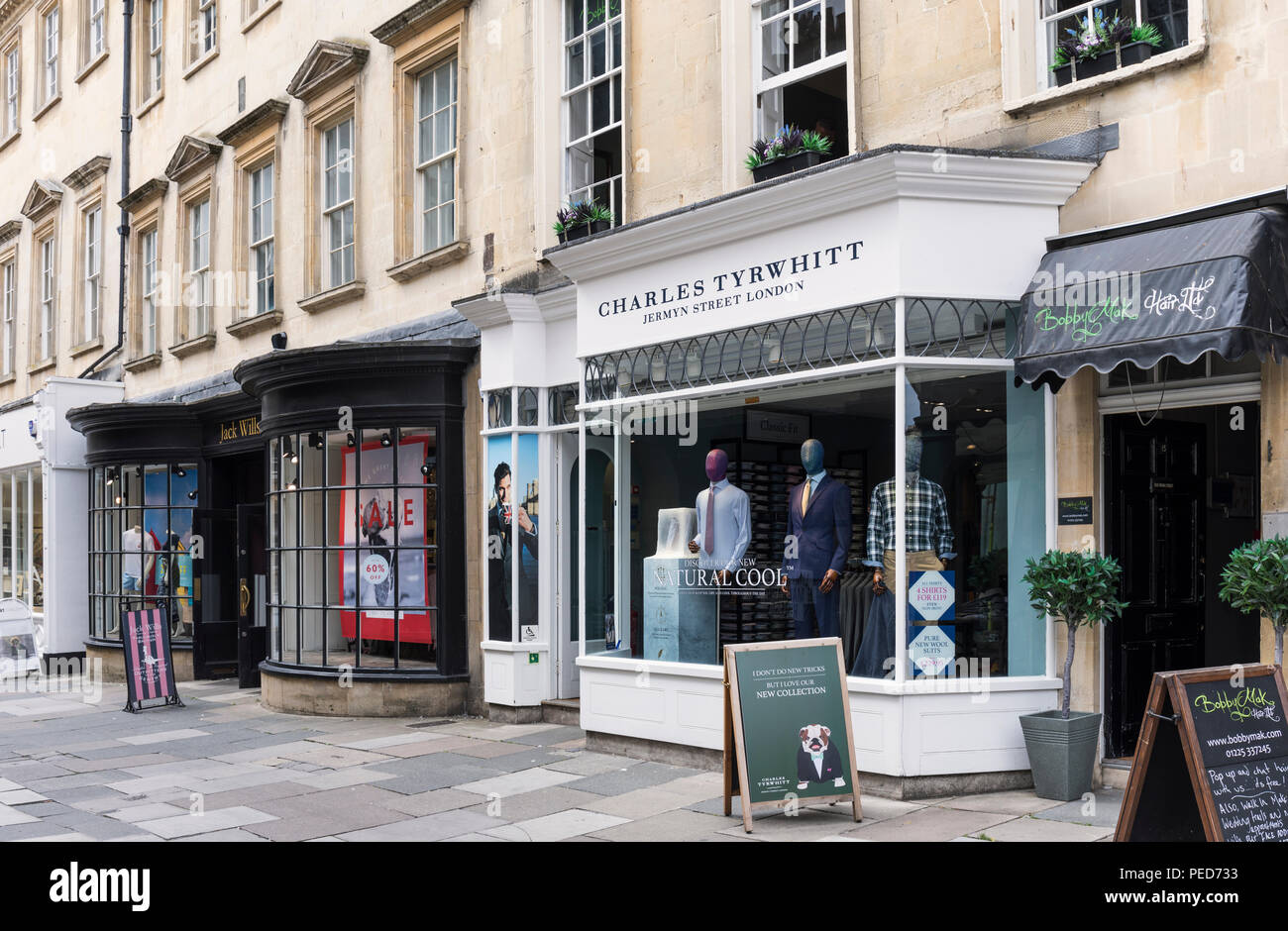 Charles Tyrwhitt and Jack Wills stores in Old Bond St, Bath, England - Stock Image