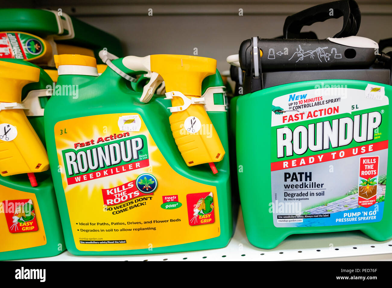 Roundup weedkiller, UK. Monsanto glyphosate herbicide for sale in a store. Stock Photo