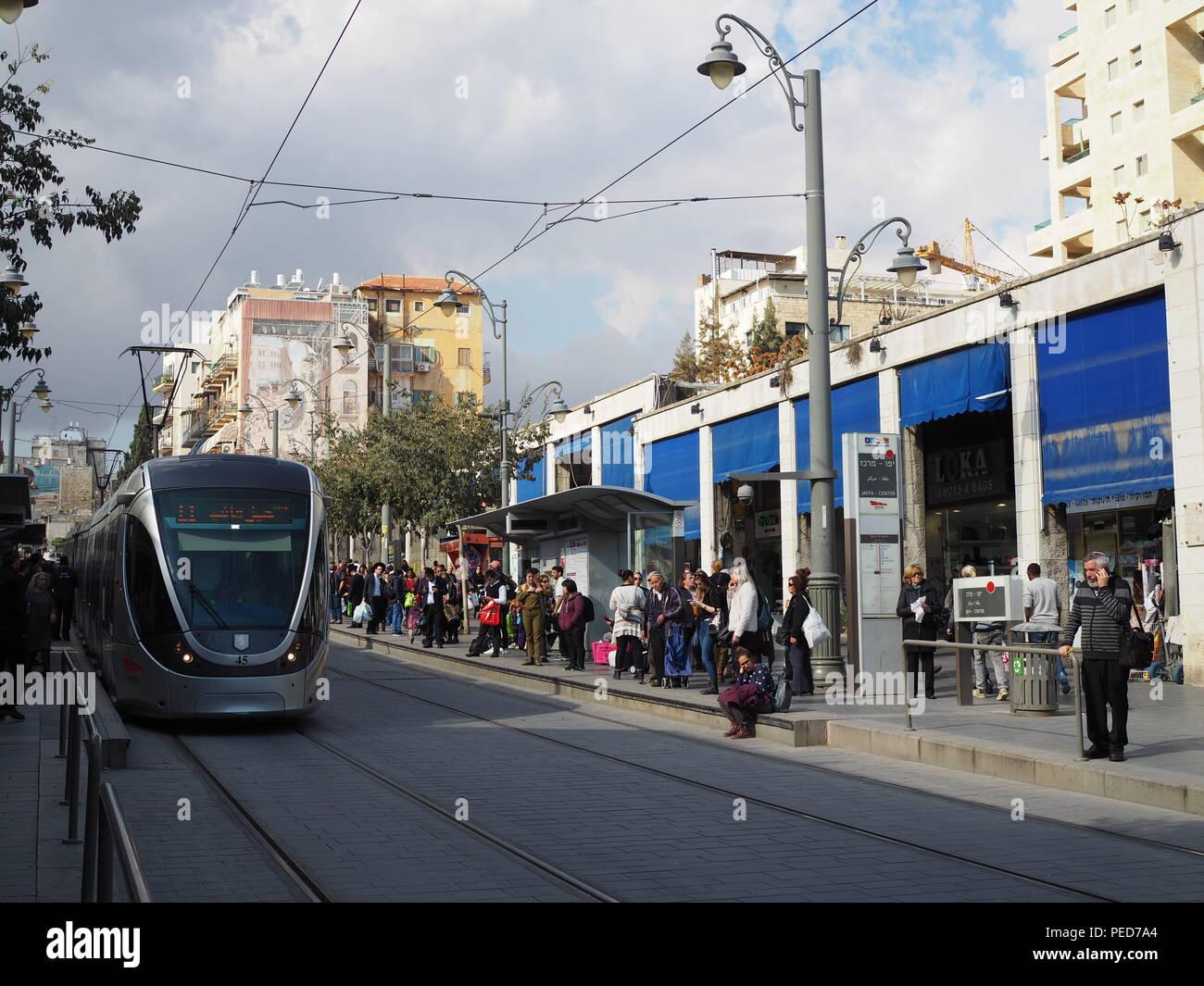 Jaffa Road with Light Rail, Jerusalem, Israel - Stock Image