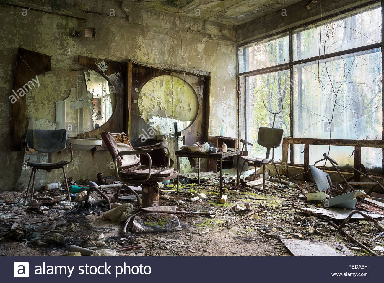 Indoor at the Abandoned city of Pripyat in Chernobyl. - Stock Image