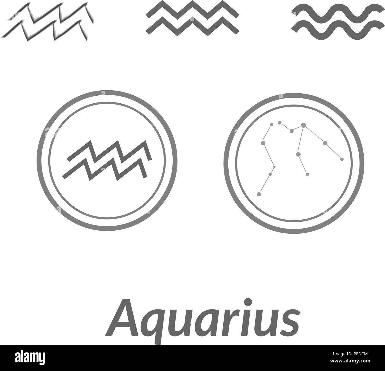 The Water-Bearer aquarius sings set. Star constellation vector element. Age of aquarius constellation zodiac symbol on light white background. - Stock Vector