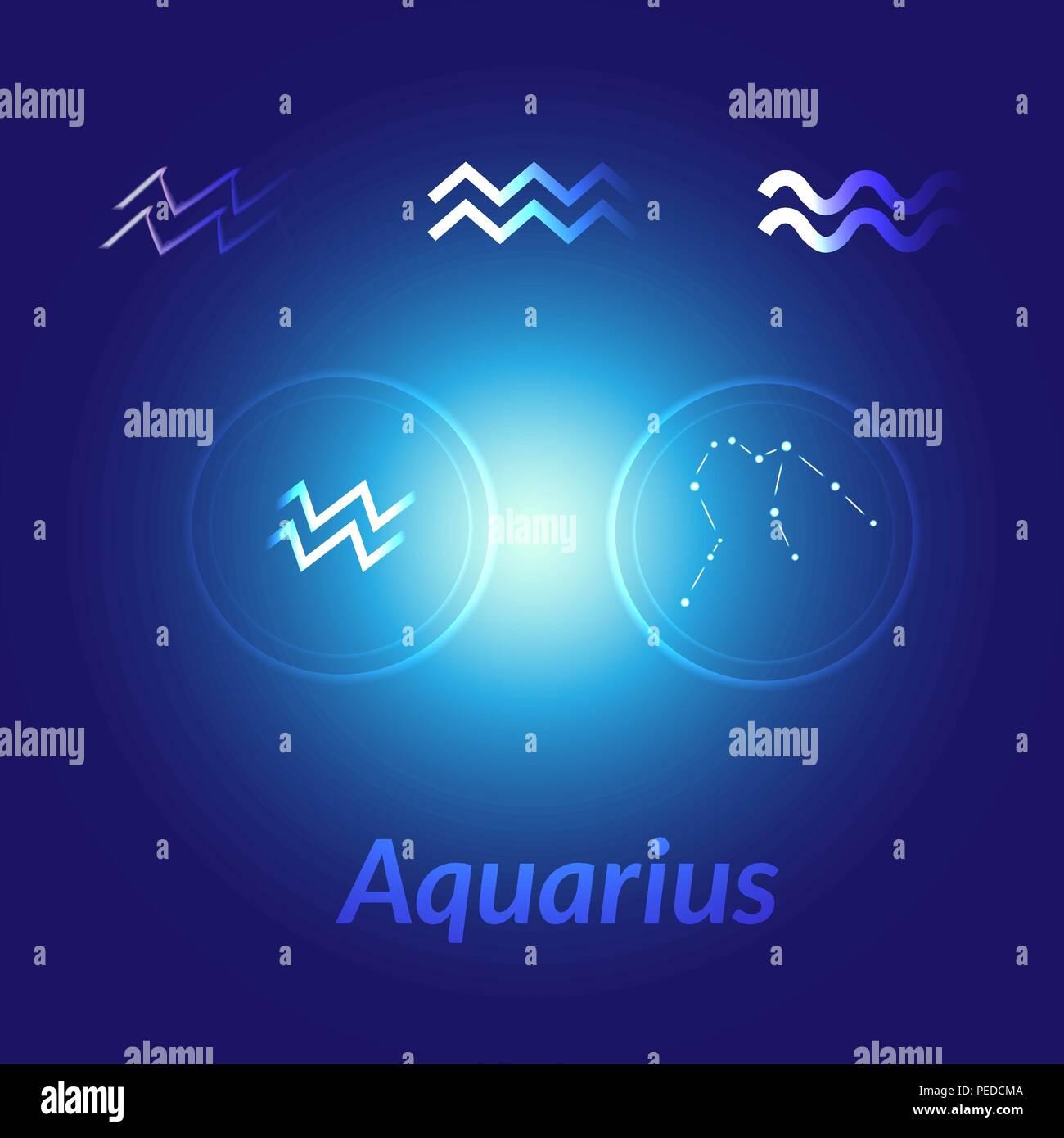 The Water-Bearer aquarius sings set. Star constellation vector element. Age of aquarius constellation zodiac symbol on dark blue background. - Stock Vector