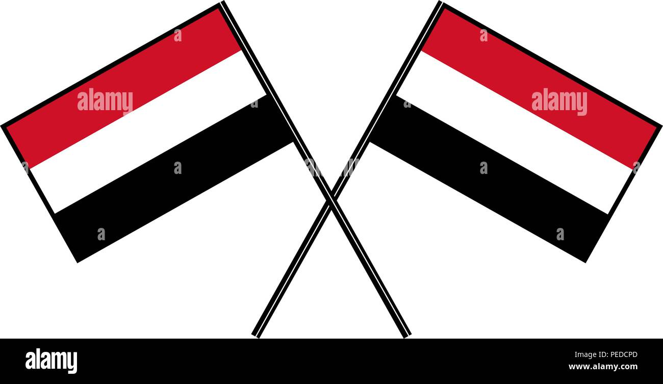 Flag of Yemen. Stylization of national banner. Simple vector illustration with two flags Stock Vector