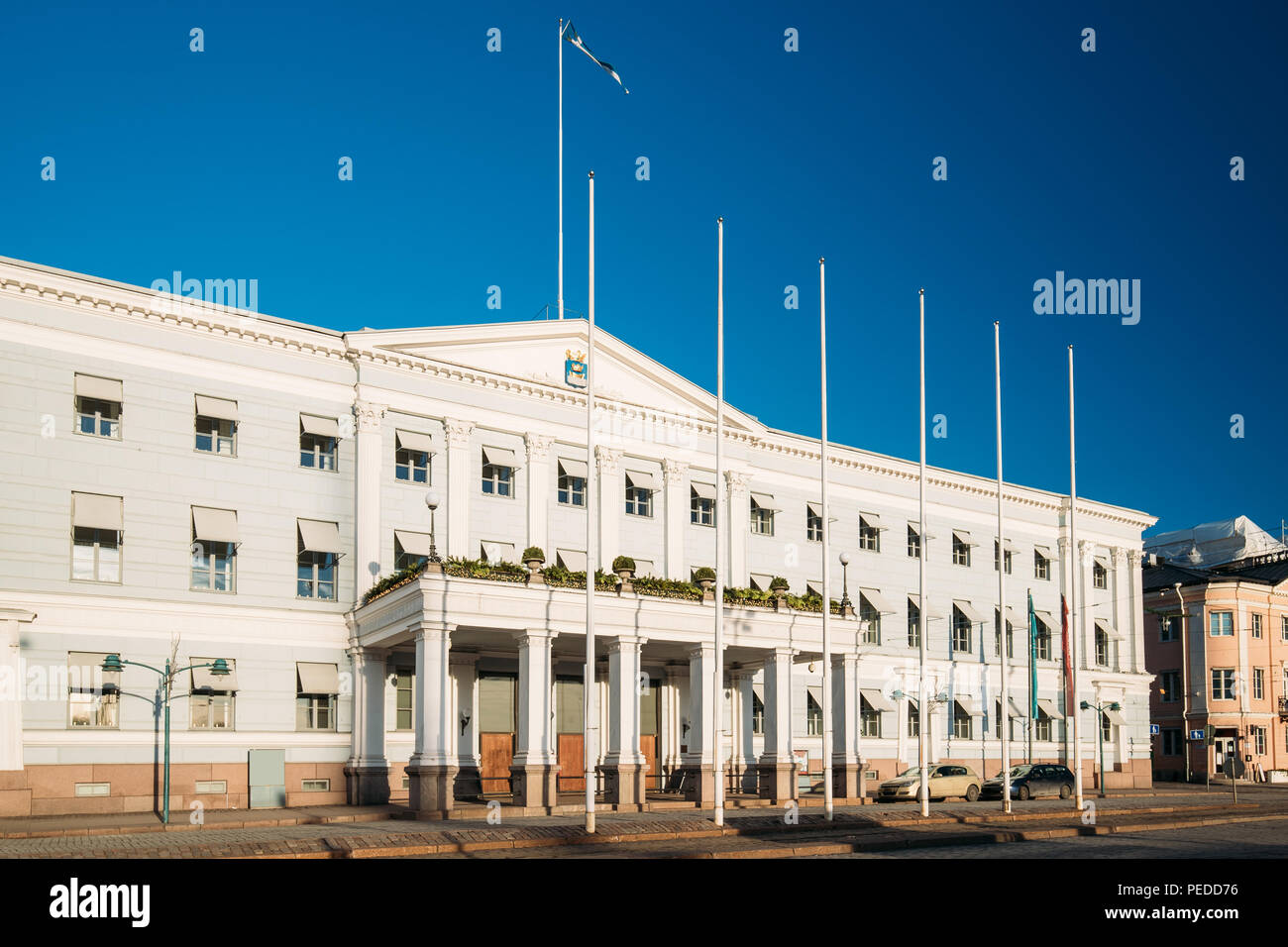 Helsinki, Finland. View Of Helsinki City Hall In Winter Sunny Day. - Stock Image
