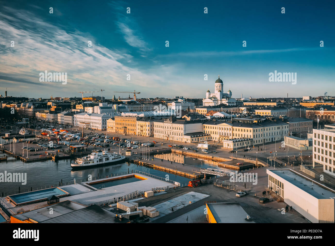 Helsinki, Finland. Top View Of Market Square, Street With Presidential Palace And Helsinki Cathedral. - Stock Image