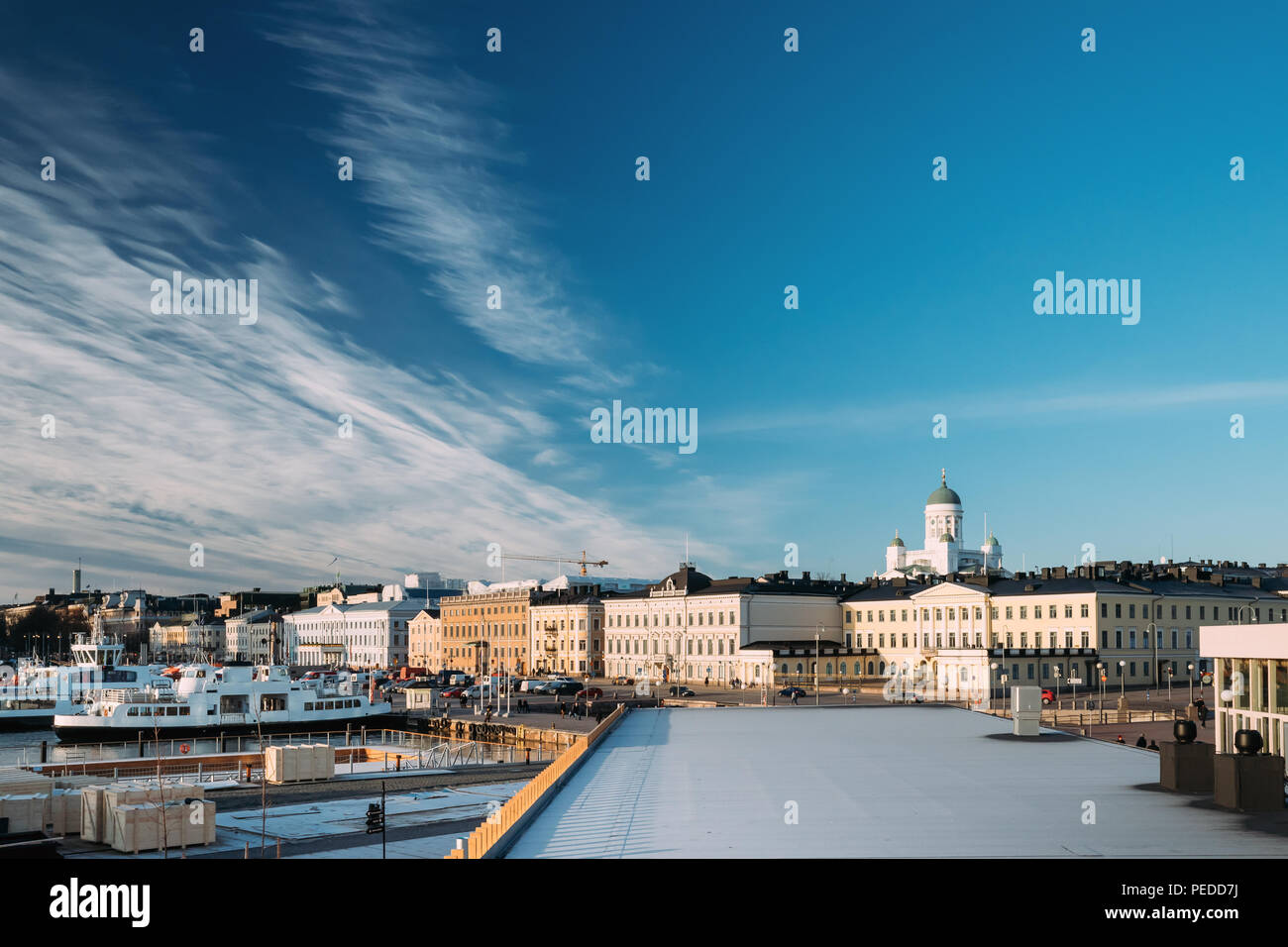 Helsinki, Finland. View Of Street With Presidential Palace And Helsinki Cathedral In Sunny Winter Day. - Stock Image