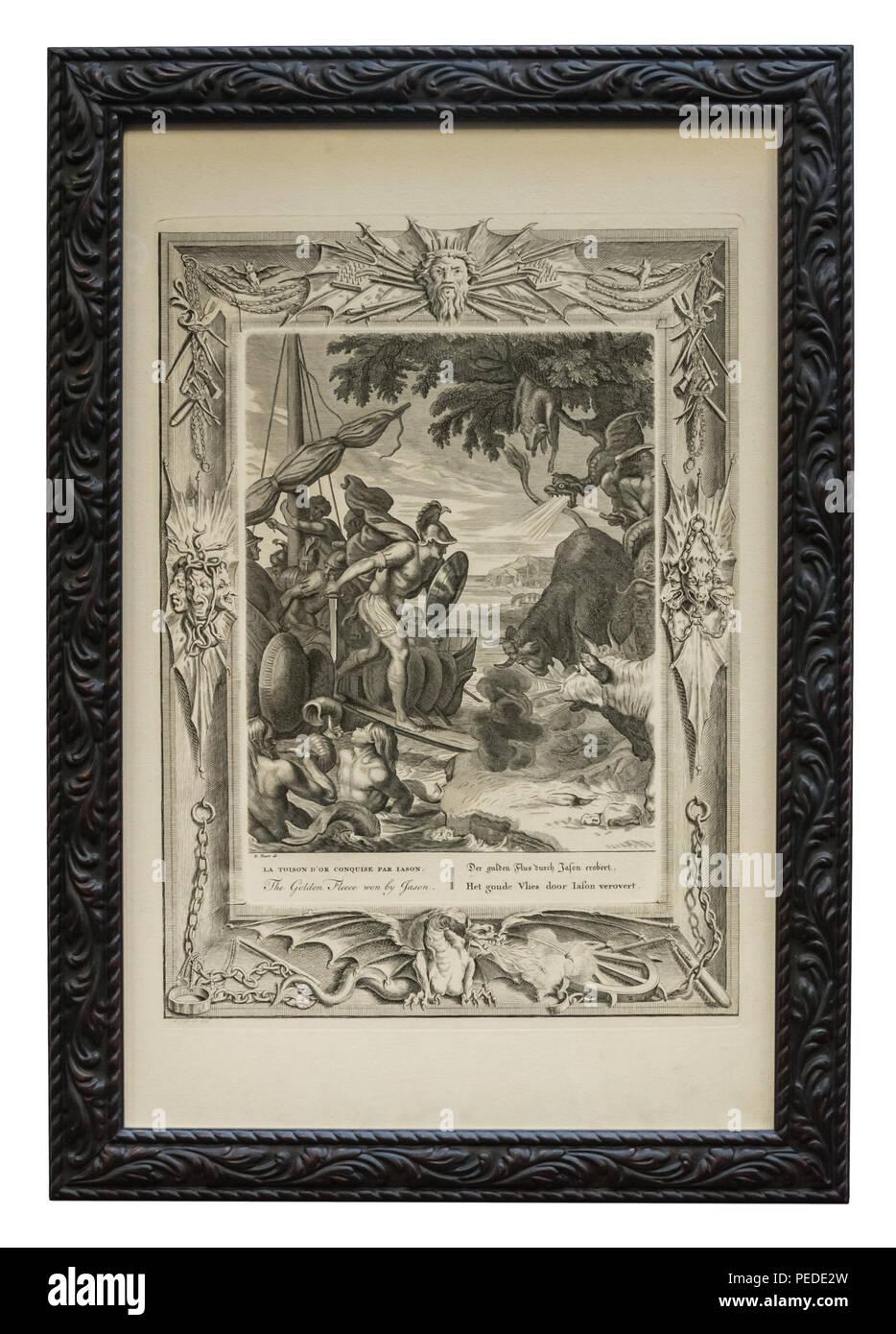 Antiker Kupferstich – Griechische Sage – Jason - mit schwarzem Bilderrahmen, der mit stilisierten Blätterranken verziert ist Stock Photo