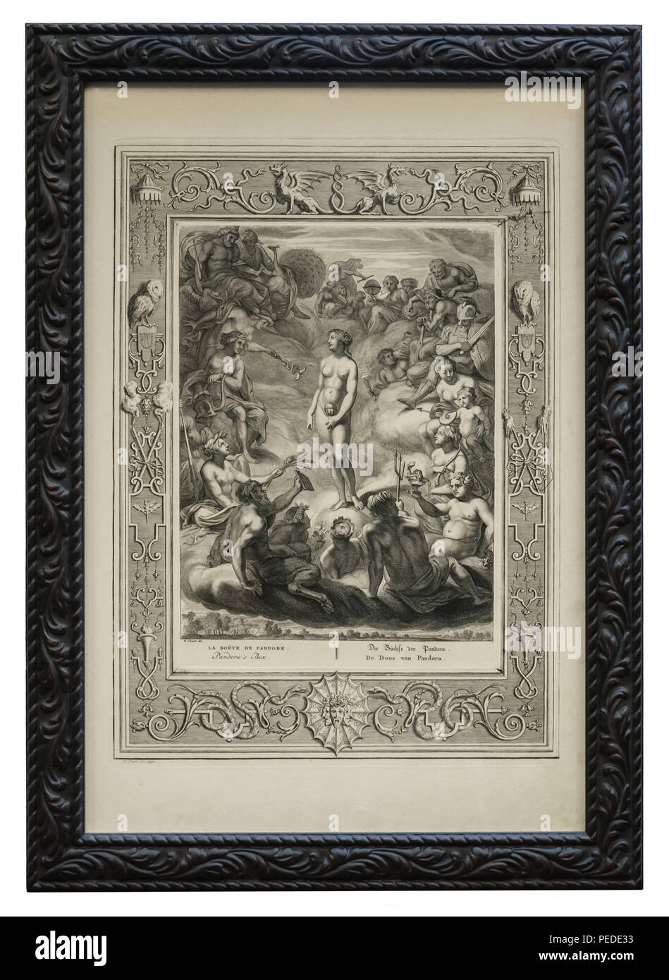 Antiker Kupferstich – Griechische Sage – Die Büchse der Pandora - mit schwarzem Bilderrahmen, der mit stilisierten Blätterranken verziert ist Stock Photo