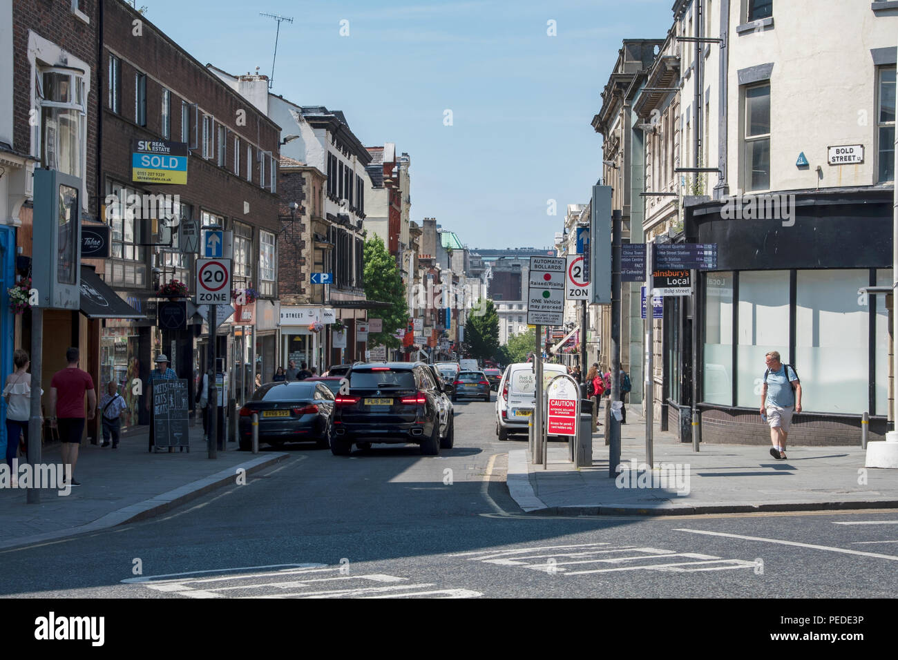 Looking down Bold Street, Liverpool. - Stock Image