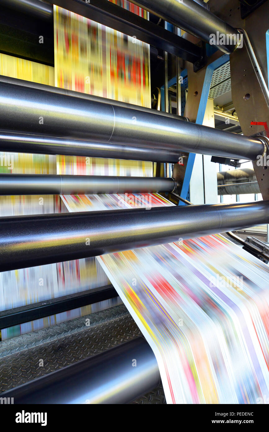 roll offset print machine in a large print shop for production of newspapers & magazines - Stock Image