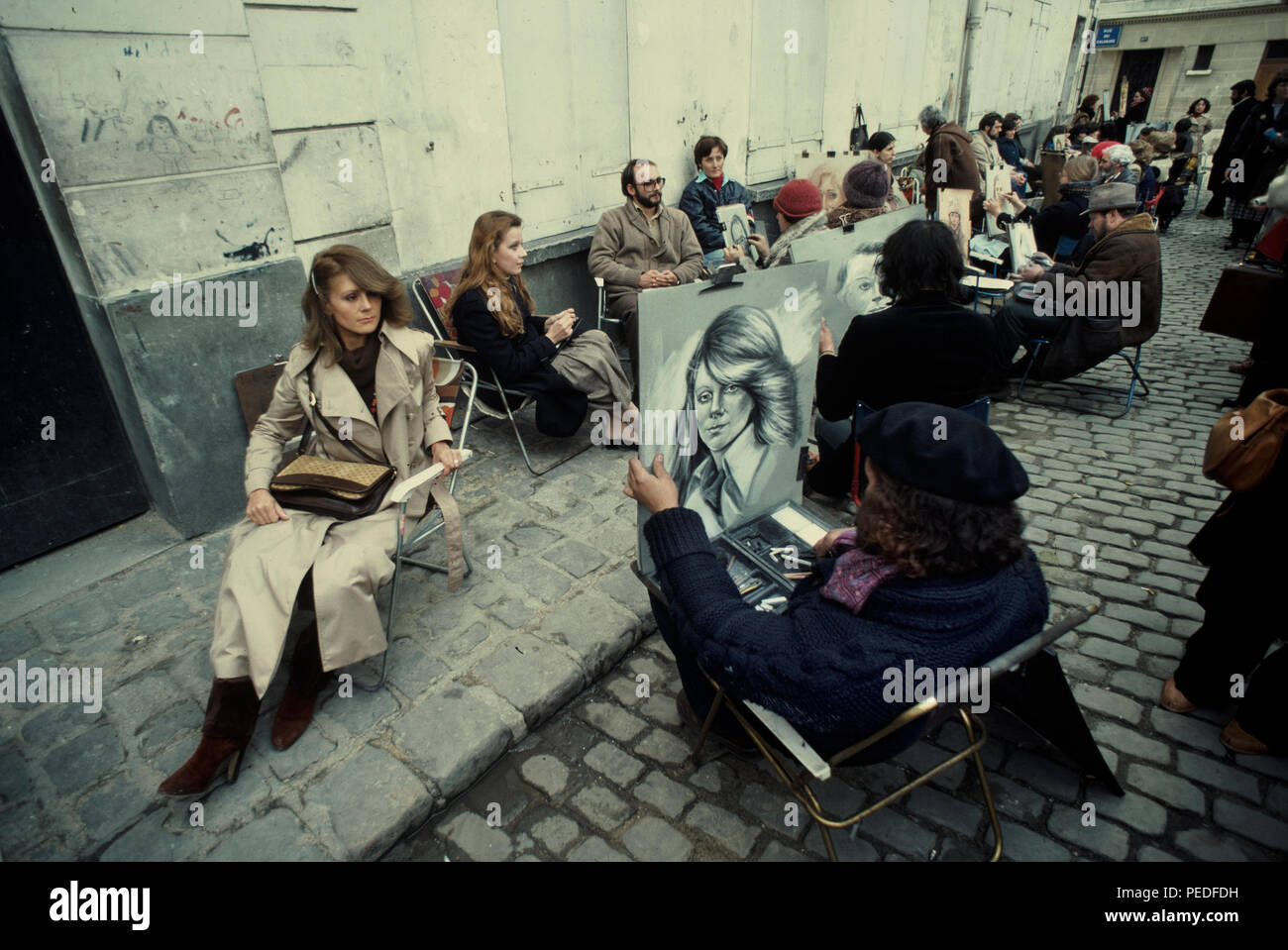 Paris France, Artists in Montmartre paint portraits in 1977 - Stock Image