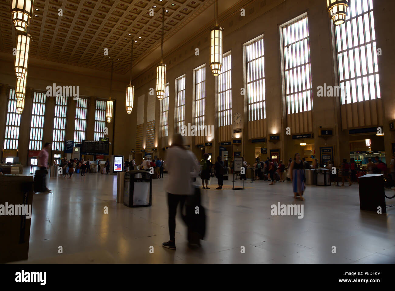 Interior shot of Central Railway Station in Philadelphia, USA - Stock Image