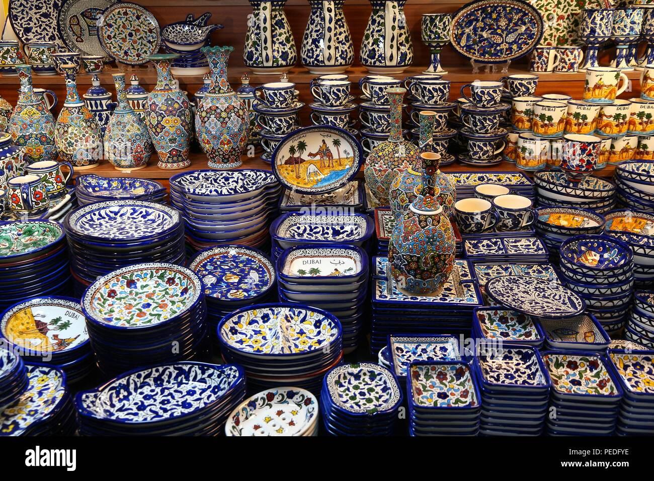 DUBAI, UAE - NOVEMBER 23, 2017: Traditional Arabic style ceramics at