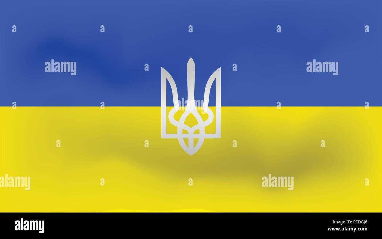 Waving Flag Of Ukraine The Ukrainian Trident National Background