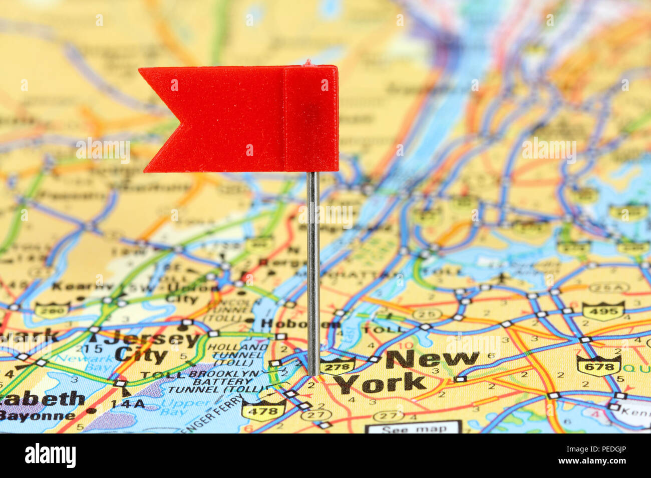 Map Of New York City For Tourists.New York City Red Flag Pin On An Old Map Showing Travel Destination