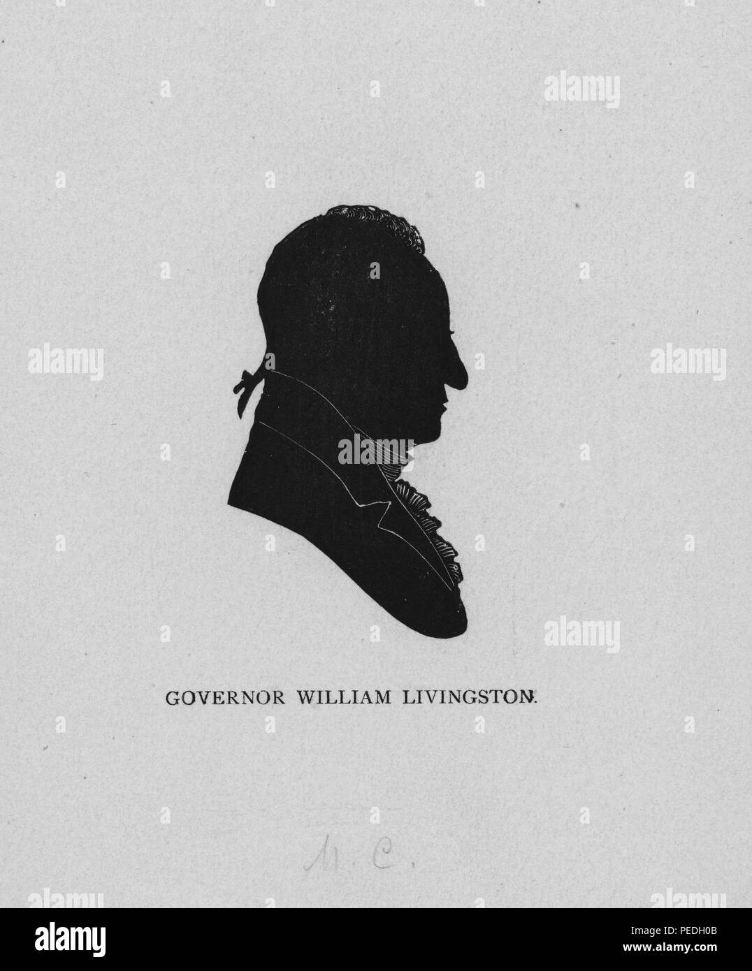Silhouette portrait of William Livingston, New Jersey delegate to the Continental Congress and one of the original Framers of the United States Constitution, who also served as governor of New Jersey between 1776 to 1790, 1849. From the New York Public Library. () - Stock Image