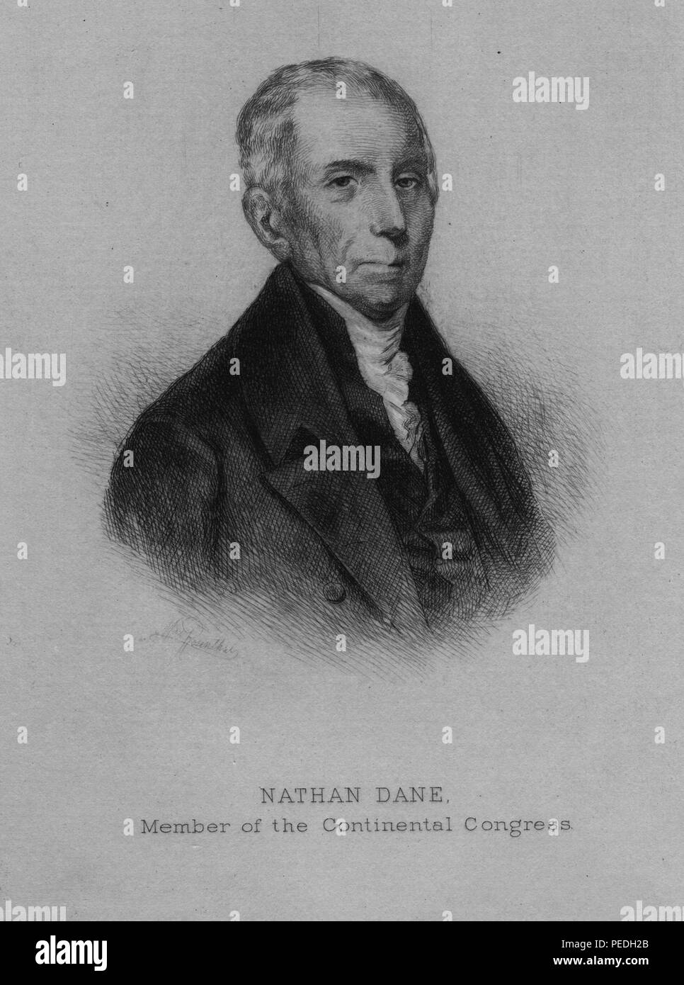 Engraved portrait of Nathan Dane, lawyer and statesman who was a member of the Continental Congress and a successful author of influential legal texts, 1885. From the New York Public Library. () - Stock Image