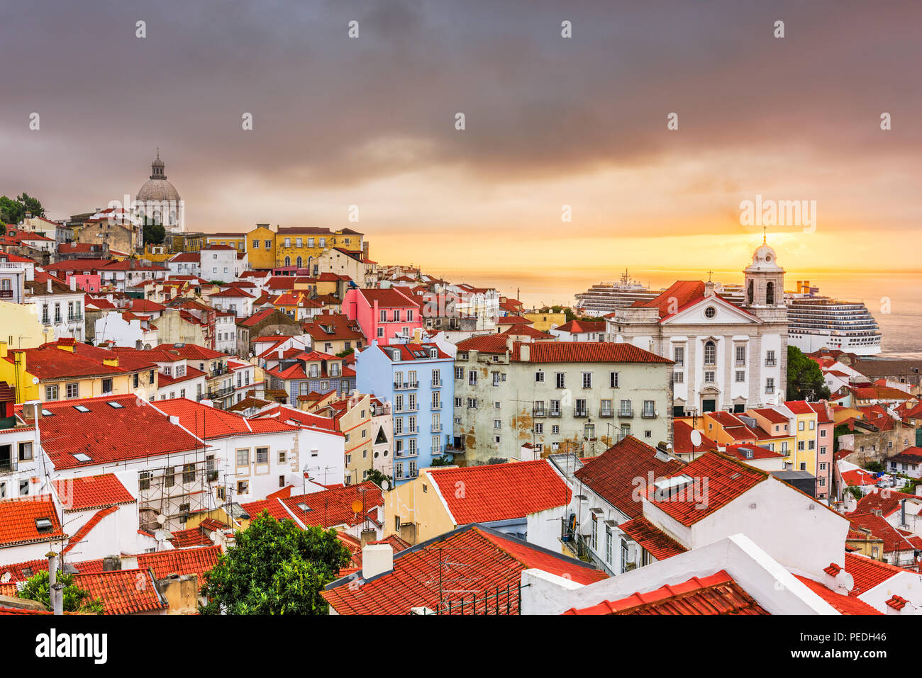 Lisbon, Portugal city skyline over the Alfama district. - Stock Image