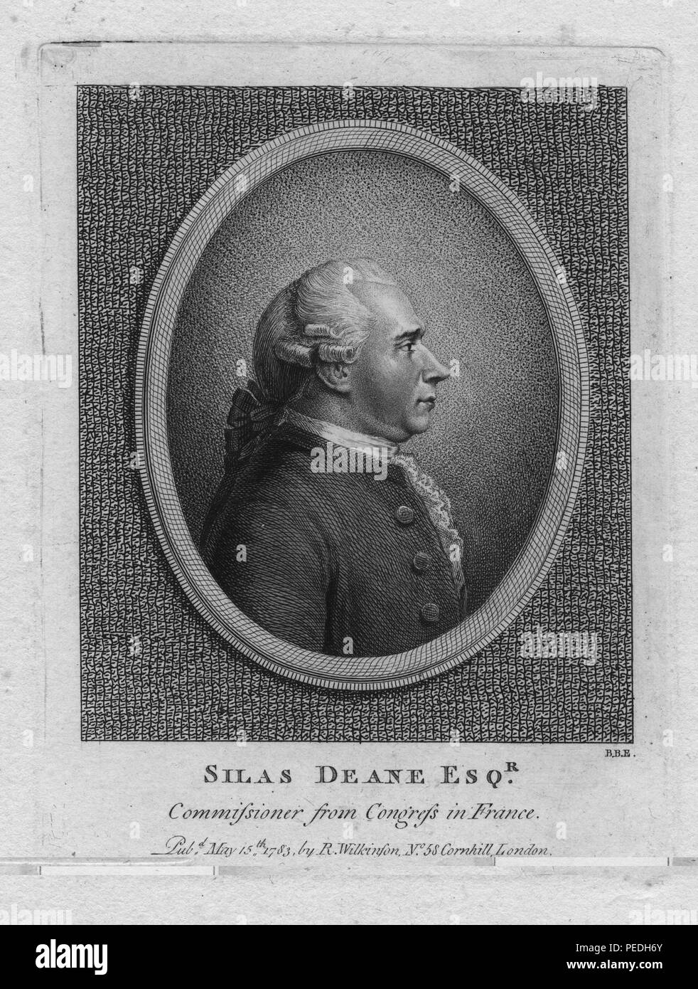 Engraved portrait of Silas Deane, merchant and supporter of American Independence who was eventually accused of financial impropriety by Congress, 1836. From the New York Public Library. () - Stock Image