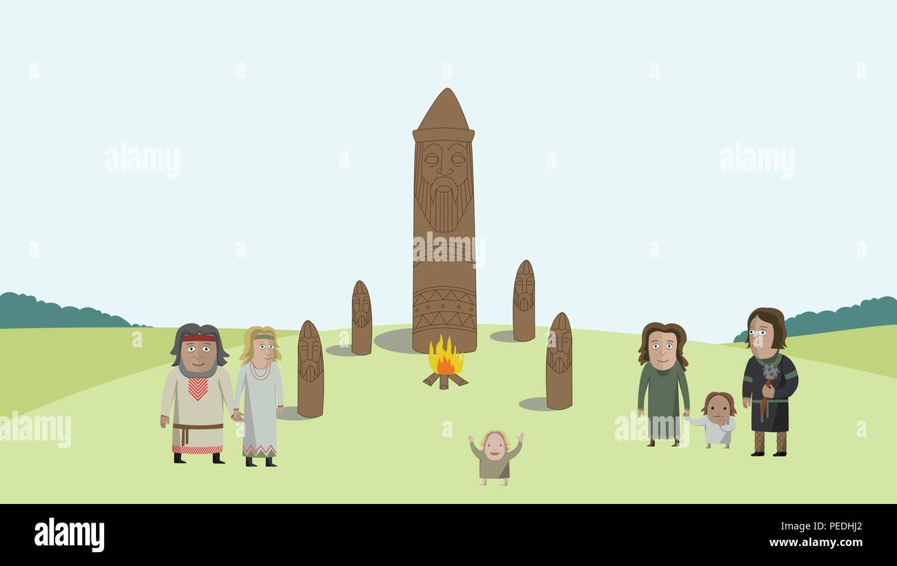 People in national dress on field with pagan idols. National clothes. Vector illustration. - Stock Image